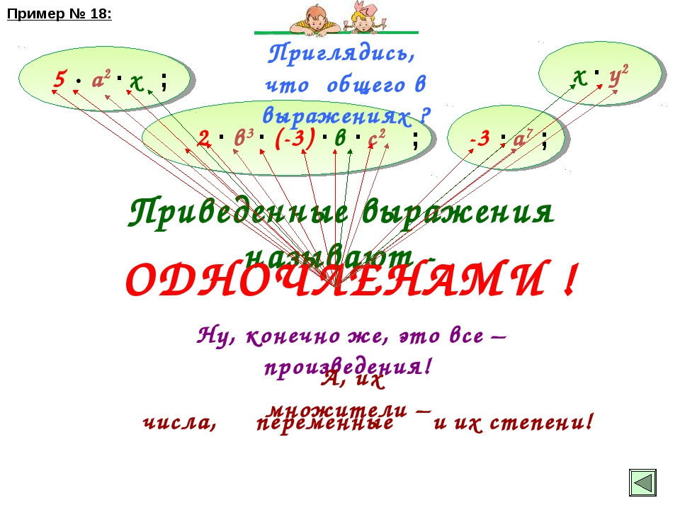 х ∙ у2 Приглядись, что общего в выражениях ? 5 ∙ а2 ∙ х 2 ∙ в3 ∙ (-3) ∙ в ∙ с...