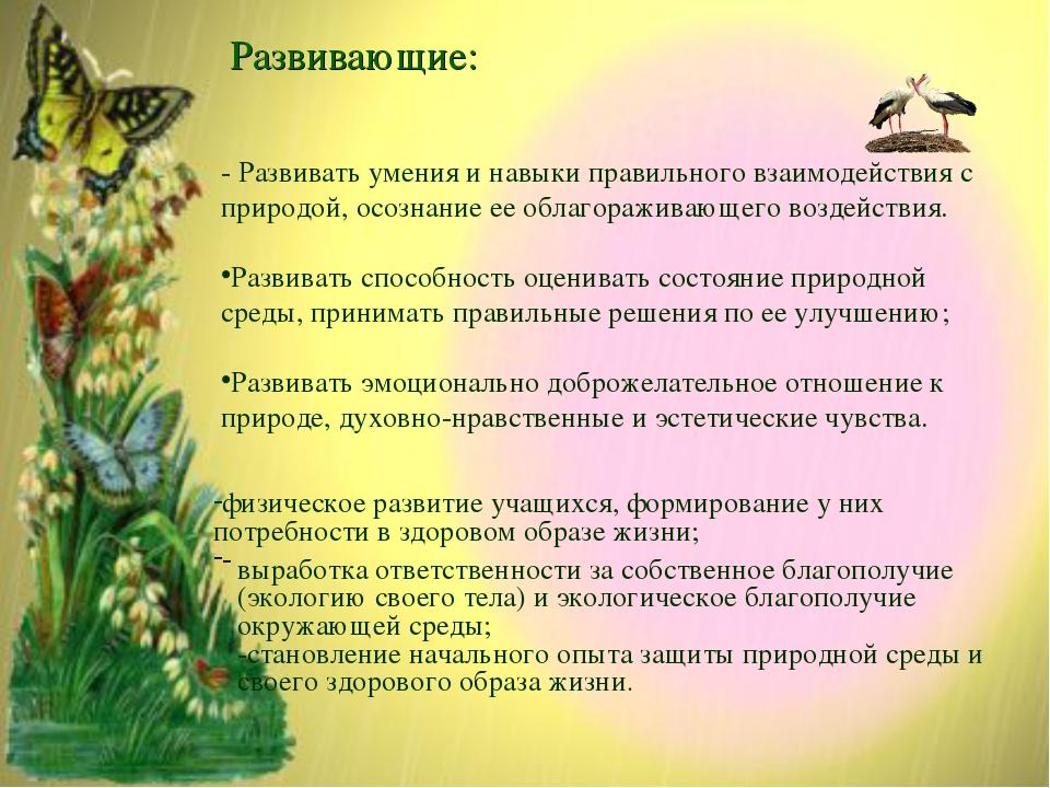 Развивающие: - Развивать умения и навыки правильного взаимодействия с природо...
