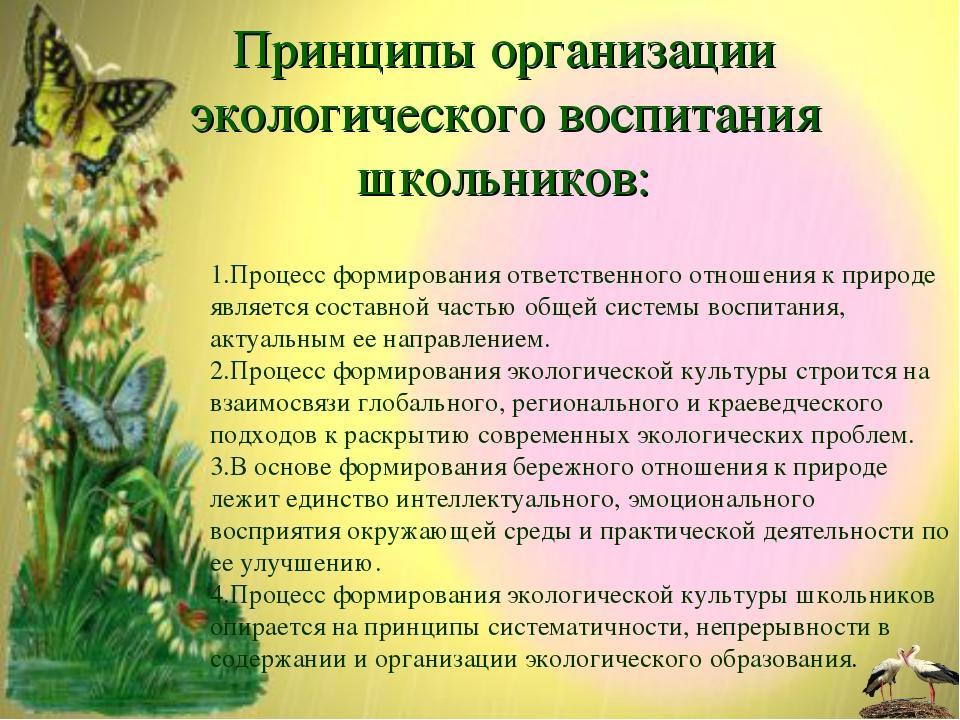 Процесс формирования ответственного отношения к природе является составной ч...