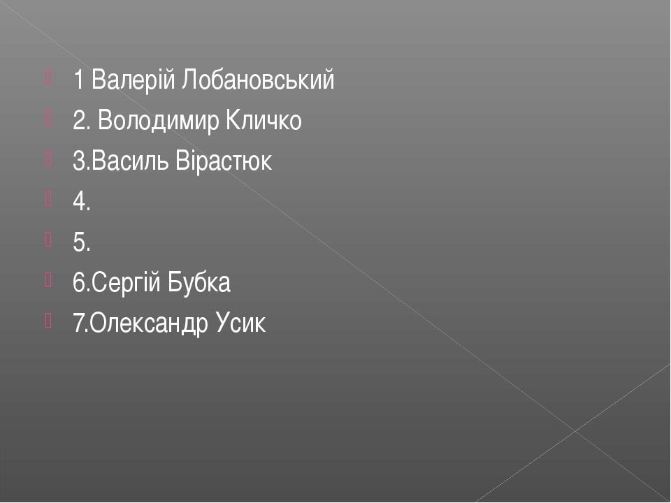 1 Валерій Лобановський 2. Володимир Кличко 3.Василь Вірастюк 4. 5. 6.Сергій Б...