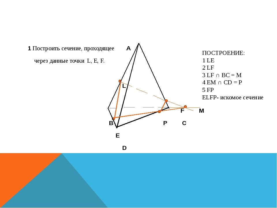 1 Построить сечение, проходящее A через данные точки L, E, F. L F M B P C E D...
