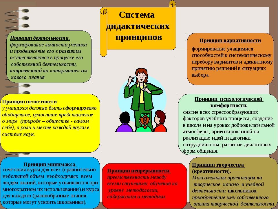 Принцип деятельности. формирование личности ученика и продвижение его в разви...
