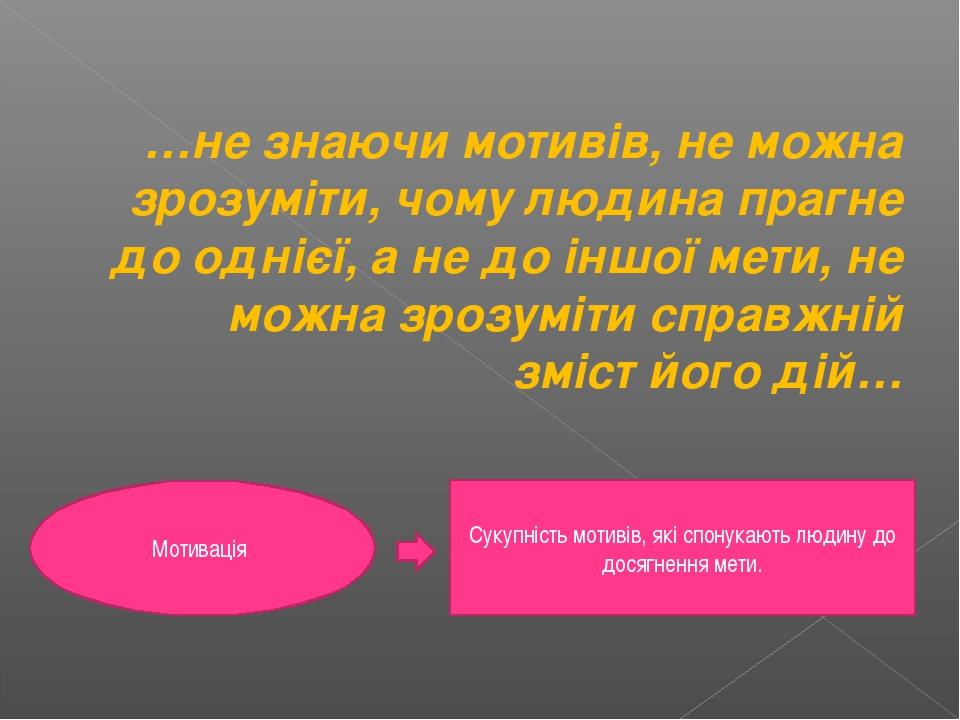 …не знаючи мотивів, не можна зрозуміти, чому людина прагне до однієї, а не до...