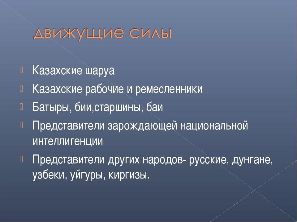 Казахские шаруа Казахские рабочие и ремесленники Батыры, бии,старшины, баи Пр...
