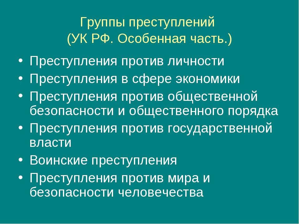 Группы преступлений (УК РФ. Особенная часть.) Преступления против личности Пр...
