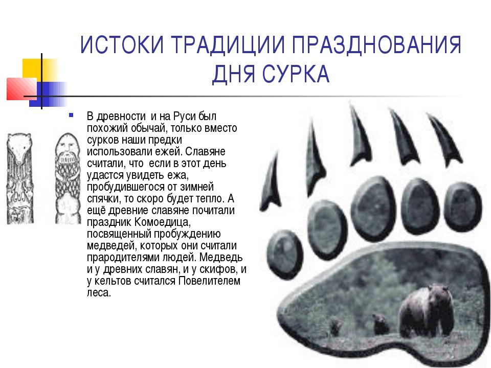 ИСТОКИ ТРАДИЦИИ ПРАЗДНОВАНИЯ ДНЯ СУРКА В древности и на Руси был похожий обыч...