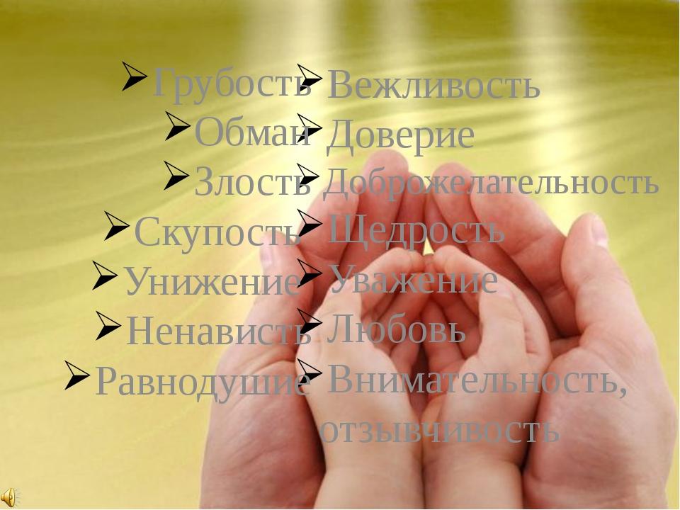 Вежливость Доверие Доброжелательность Щедрость Уважение Любовь Внимательность...