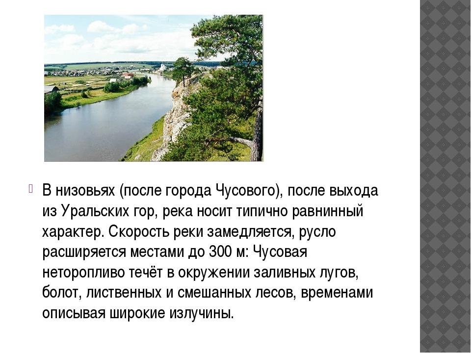 В низовьях(после города Чусового), после выхода из Уральских гор, река носит...