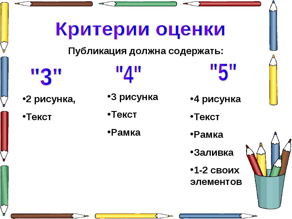 2 рисунка, Текст Публикация должна содержать: 3 рисунка Текст Рамка 4 рисунка...
