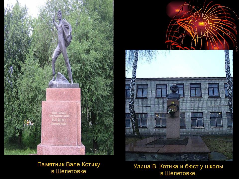 Памятник Вале Котику в Шепетовке Улица В. Котика и бюст у школы в Шепетовке.