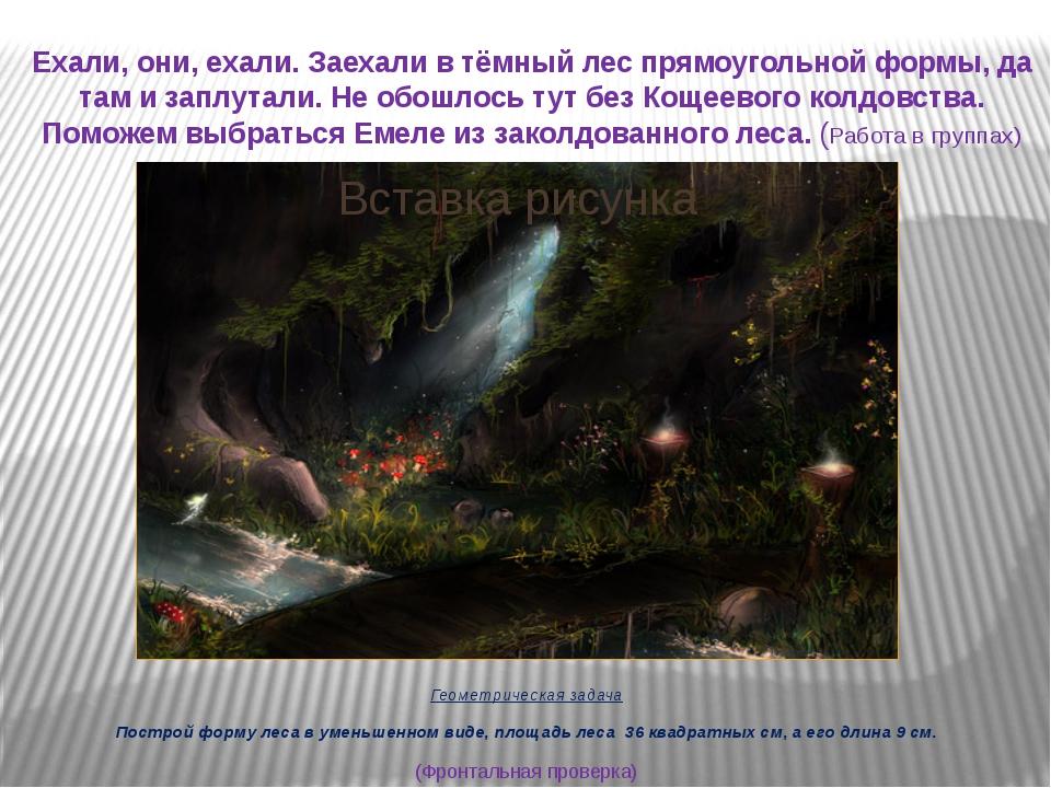 Ехали, они, ехали. Заехали в тёмный лес прямоугольной формы, да там и заплута...