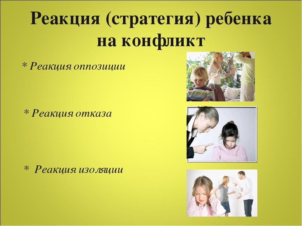 Реакция (стратегия) ребенка на конфликт * Реакция оппозиции * Реакция отказа...