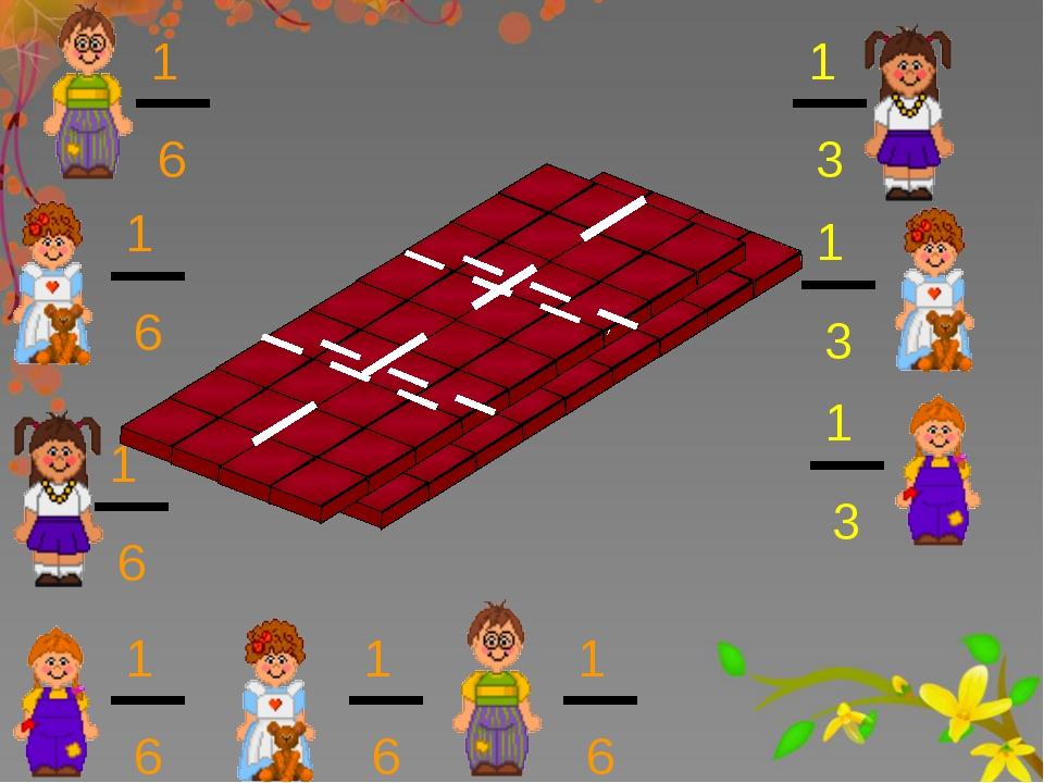 1 3 1 3 1 3 1 6 1 6 1 6 1 6 1 6 1 6 Сравнение дробей с одинаковыми числителями