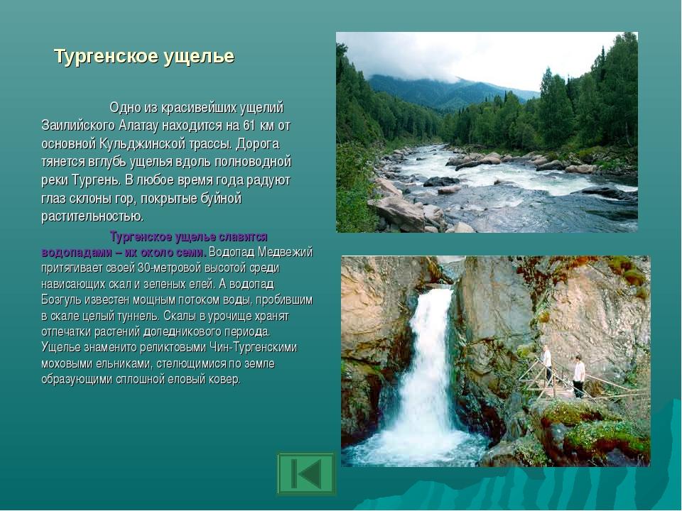 Тургенское ущелье Одно из красивейших ущелий Заилийского Алатау находится на...