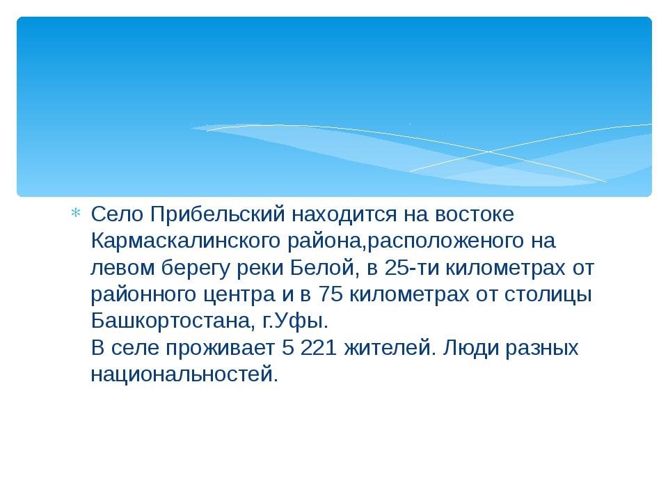 Село Прибельский находится на востоке Кармаскалинского района,расположеного н...