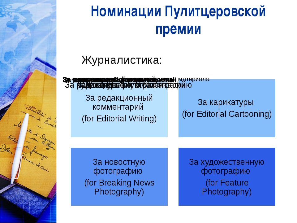 Номинации Пулитцеровской премии Журналистика: