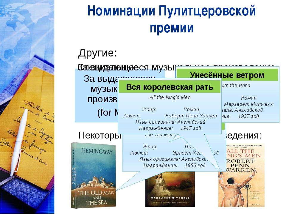 Номинации Пулитцеровской премии Другие: Некоторые награждённые произведения:...