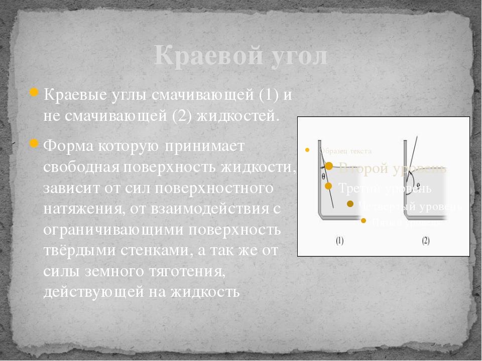 Краевой угол Краевые углы смачивающей (1) и не смачивающей (2) жидкостей. Фор...