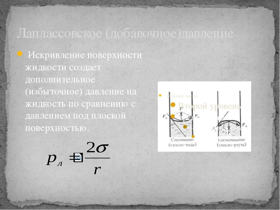 Лаплассовское (добавочное)давление Искривление поверхности жидкости создает д...