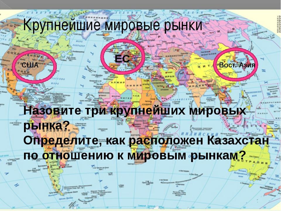 США ЕС Вост. Азия Крупнейшие мировые рынки Назовите три крупнейших мировых р...