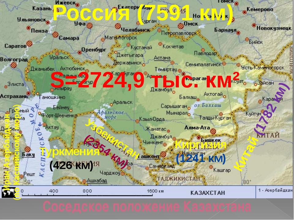 Россия (7591 км) Соседское положение Казахстана Китай (1782 км) Киргизия (12...