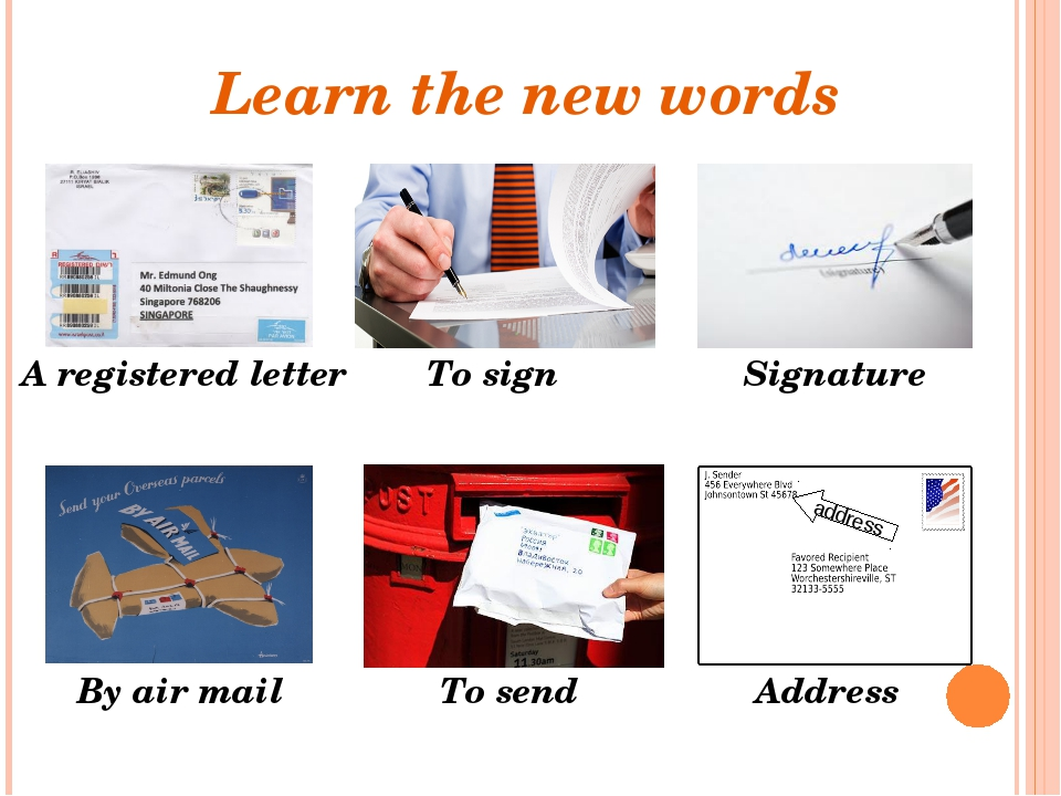 Learn the new words A registered letter To send By air mail To sign Signature