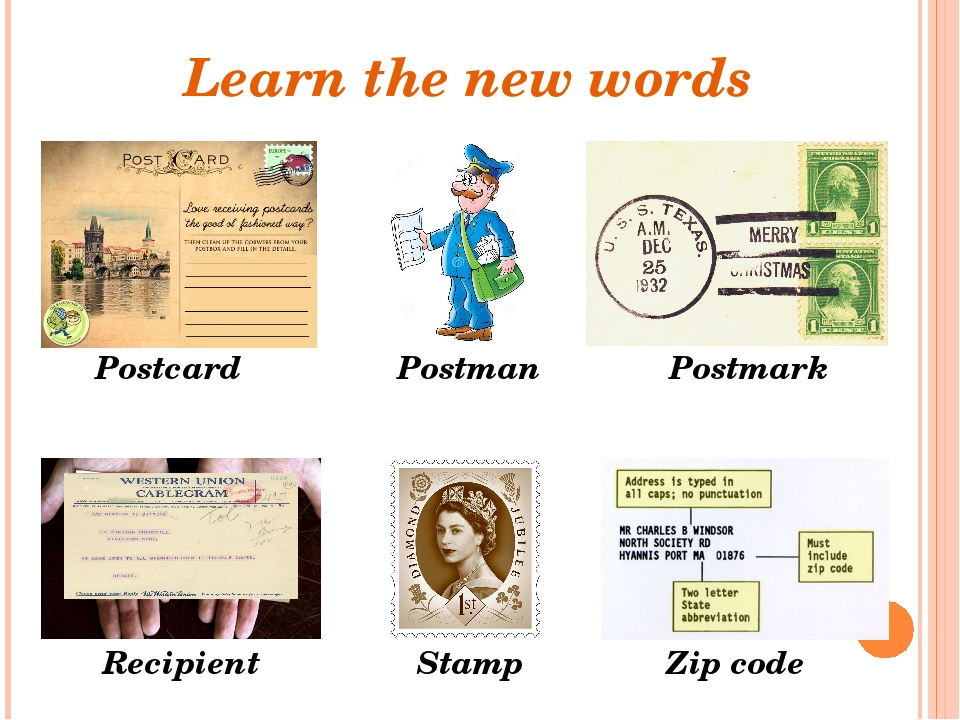 Learn the new words Postman Stamp Recipient Postcard Postmark Zip code