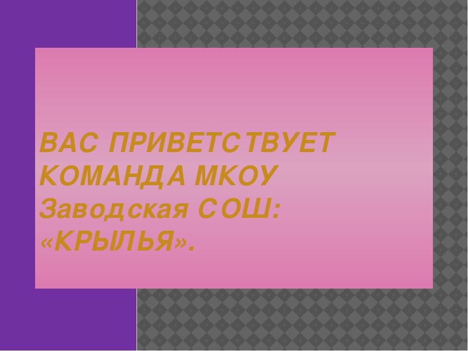 ВАС ПРИВЕТСТВУЕТ КОМАНДА МКОУ Заводская СОШ: «КРЫЛЬЯ».