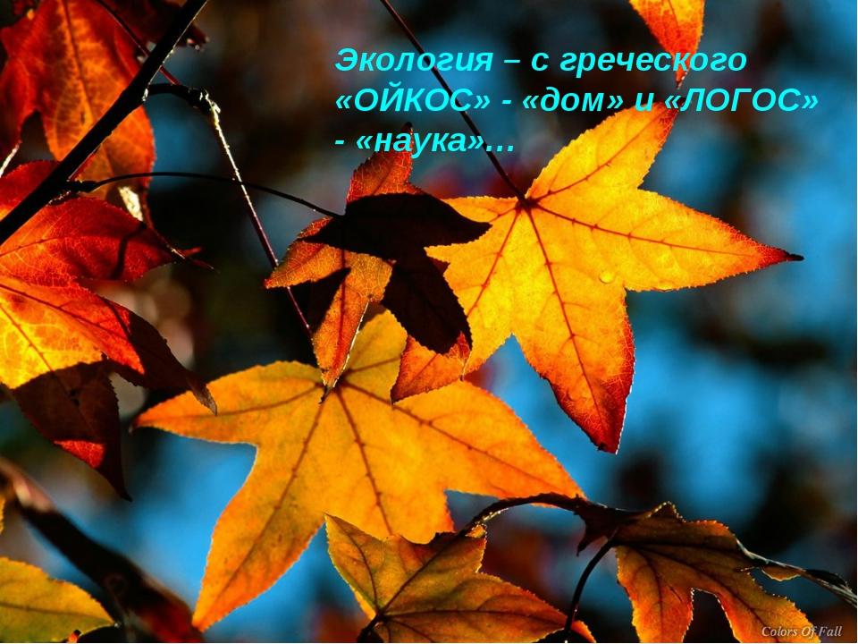 Экология – с греческого «ОЙКОС» - «дом» и «ЛОГОС» - «наука»…