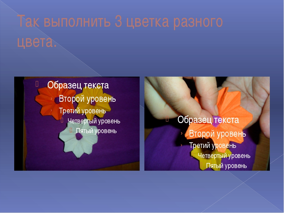 Так выполнить 3 цветка разного цвета.