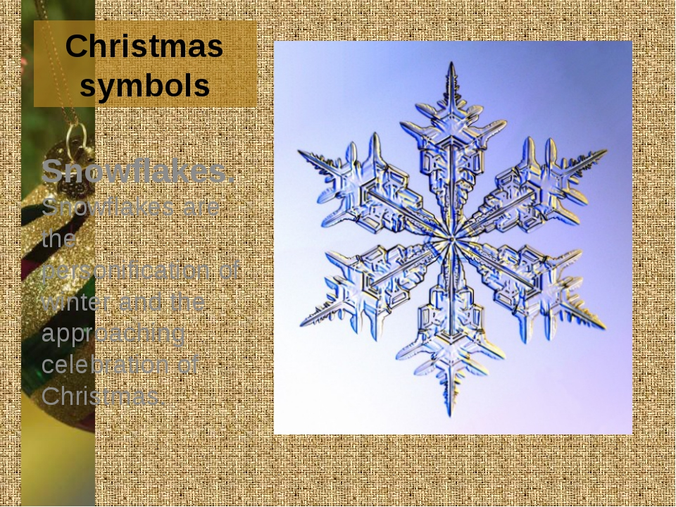 Christmas symbols Snowflakes. Snowflakes are the personification of winter an