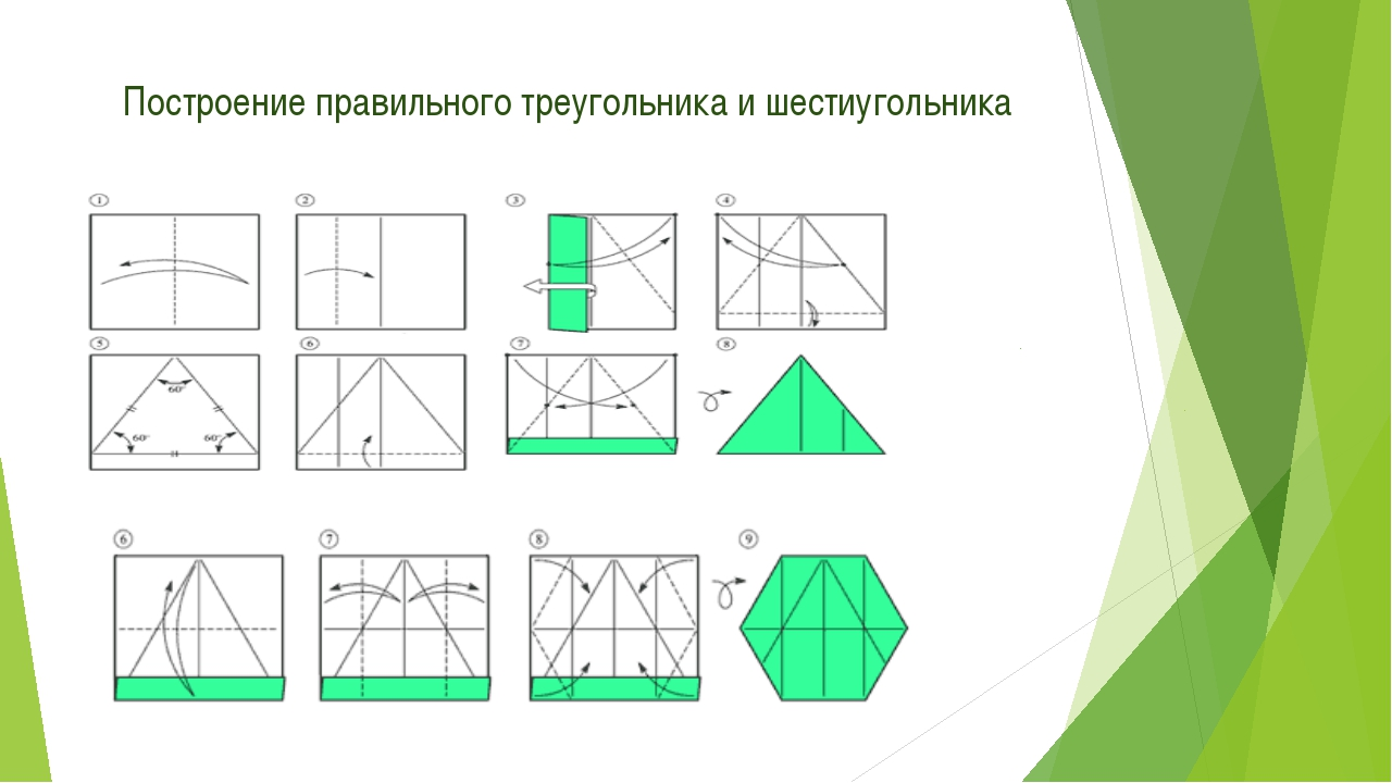 Построение правильного треугольника и шестиугольника
