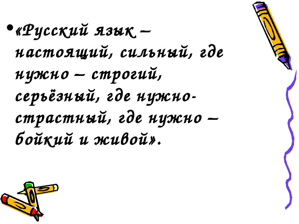 «Русский язык – настоящий, сильный, где нужно – строгий, серьёзный, где нужно...