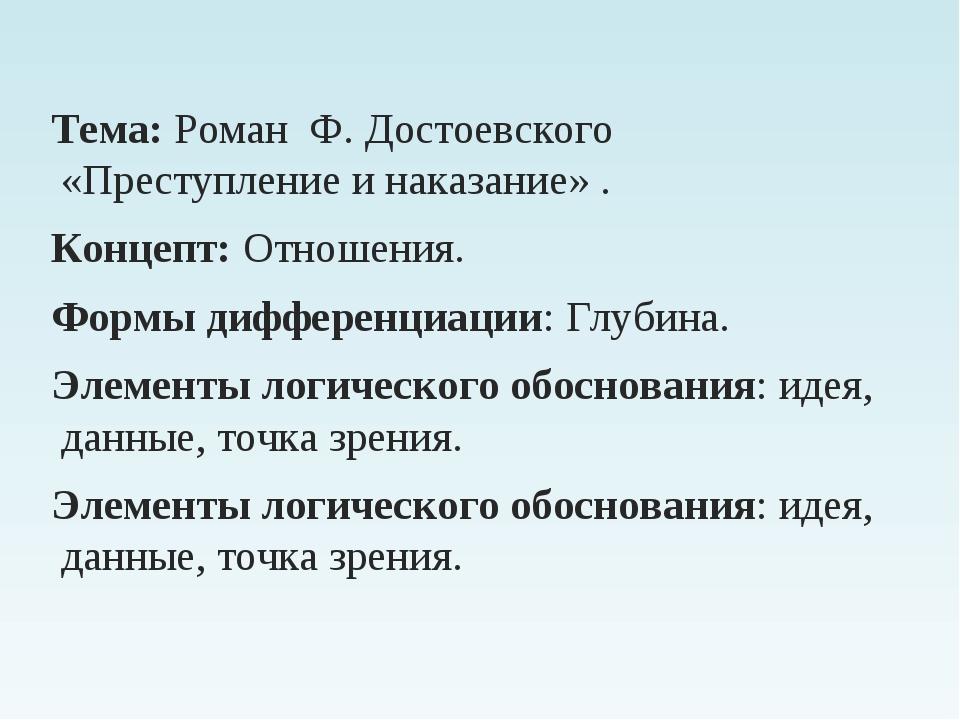 Тема: Роман Ф. Достоевского «Преступление и наказание» . Концепт: Отношения....