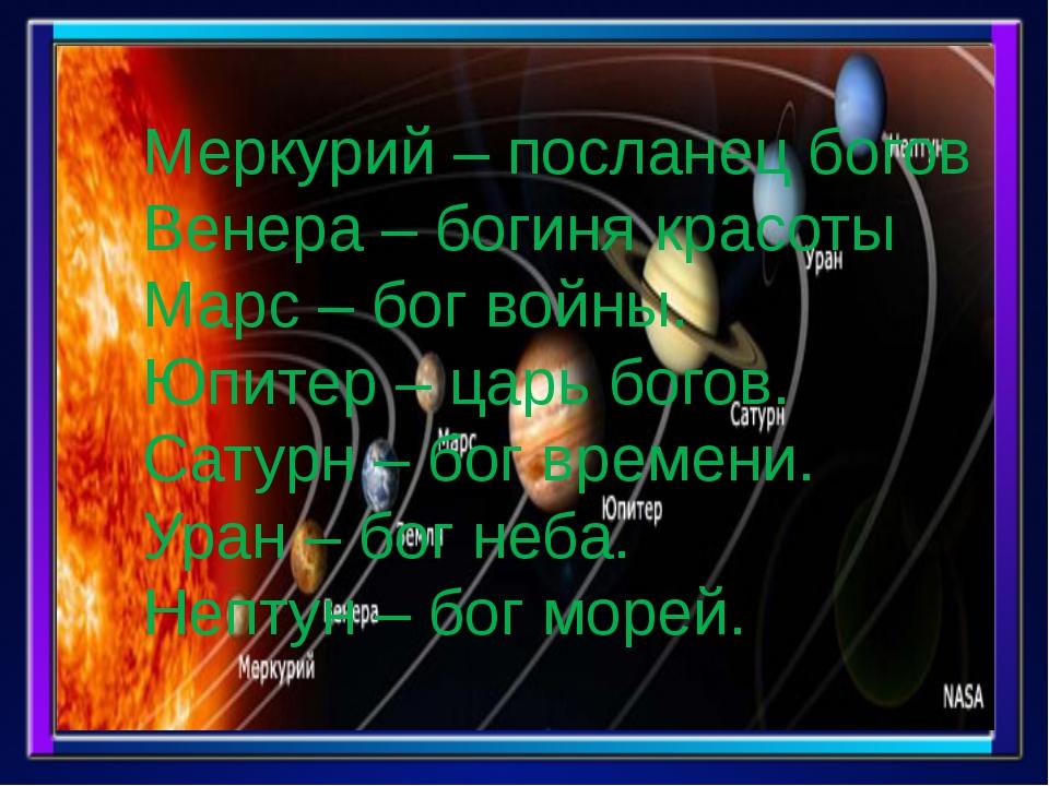 Меркурий – посланец богов Венера – богиня красоты Марс – бог войны. Юпитер –...