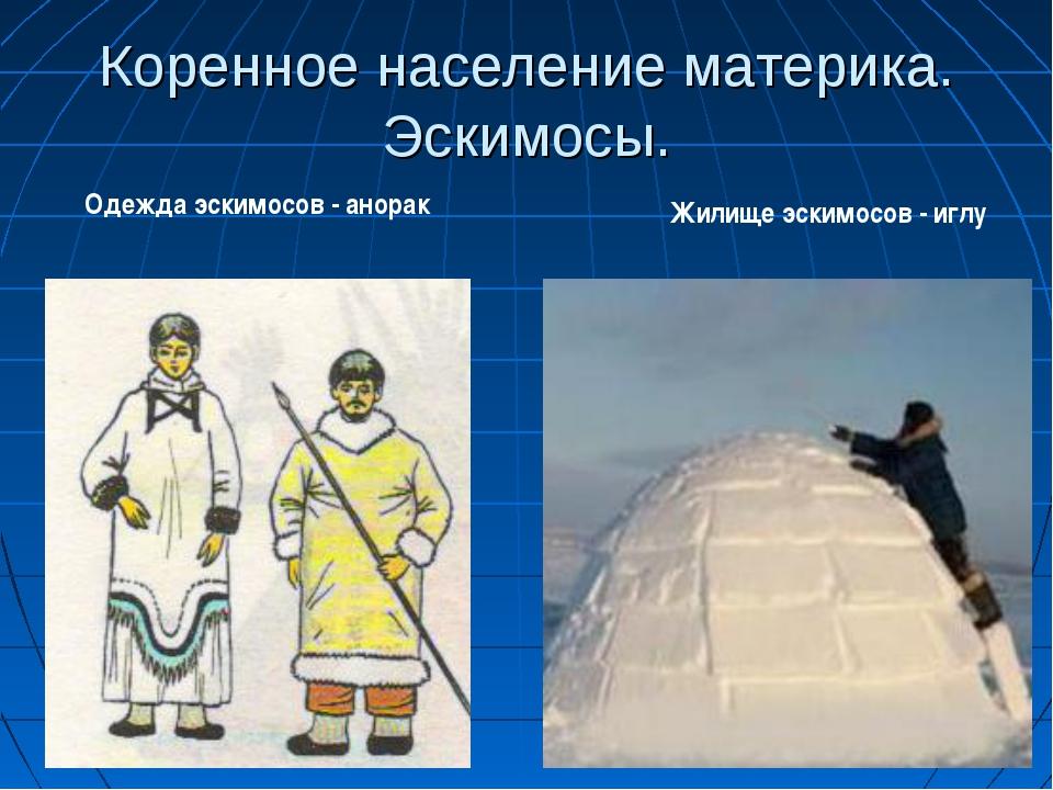 Коренное население материка. Эскимосы. Жилище эскимосов - иглу Одежда эскимос...
