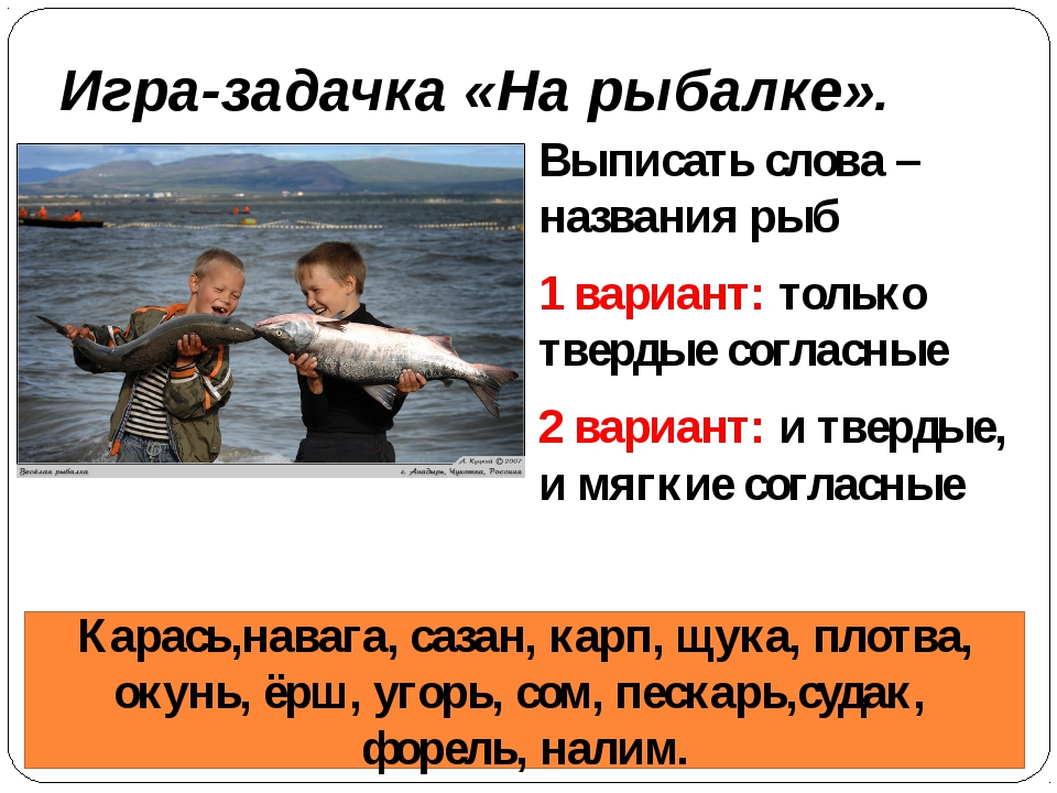 Игра-задачка «На рыбалке». Выписать слова –названия рыб 1 вариант: только тве...
