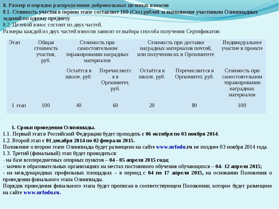 8. Размер и порядок распределения добровольных целевых взносов 8.1. Стоимость...