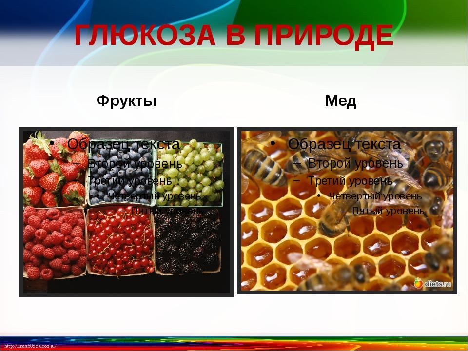ГЛЮКОЗА В ПРИРОДЕ Фрукты Мед http://linda6035.ucoz.ru/