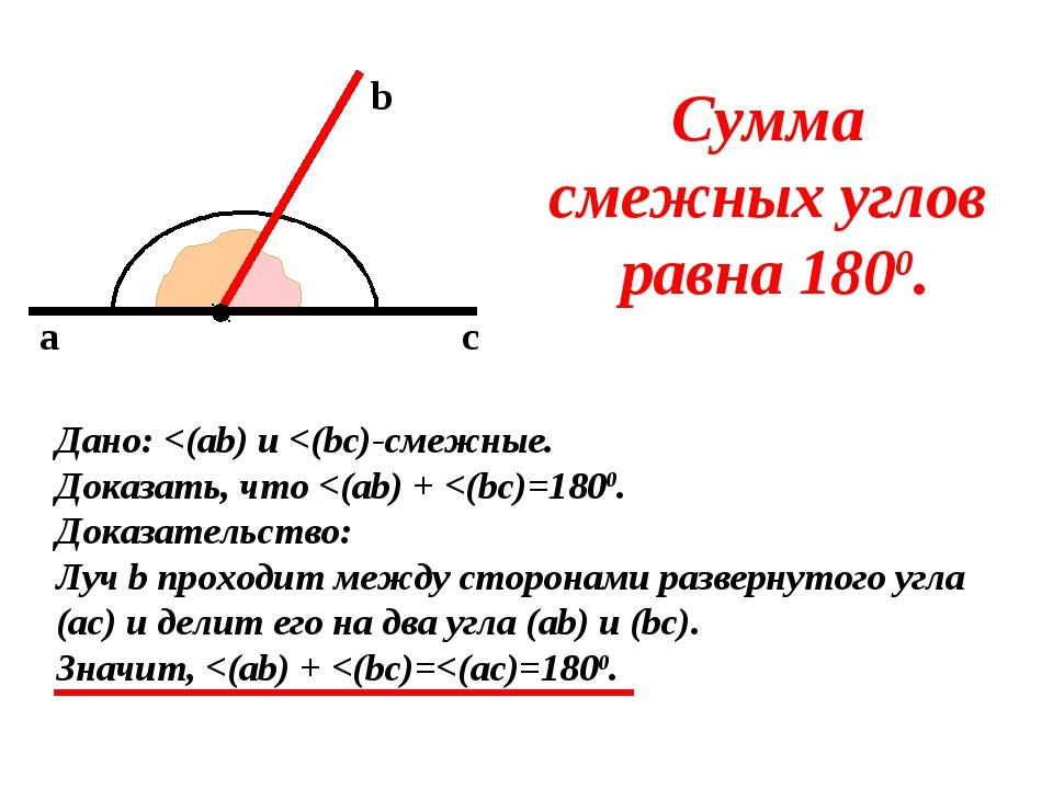 a b c Сумма смежных углов равна 1800. Дано: