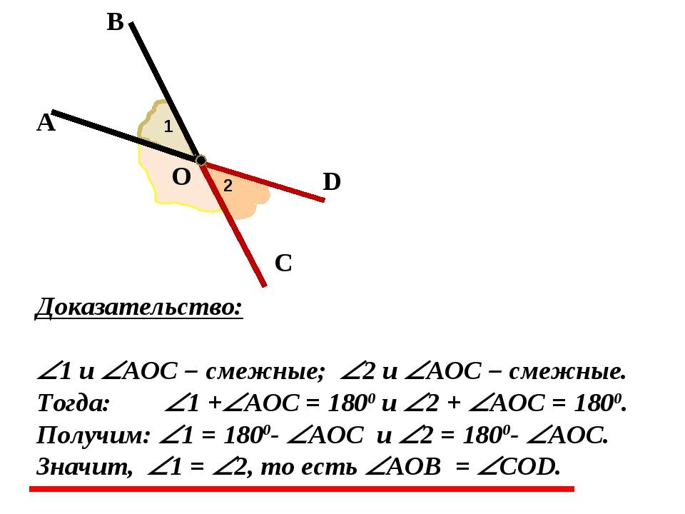 А В О С D 1 2 Доказательство: 1 и AOC – смежные; 2 и AOC – смежные. Тогда...