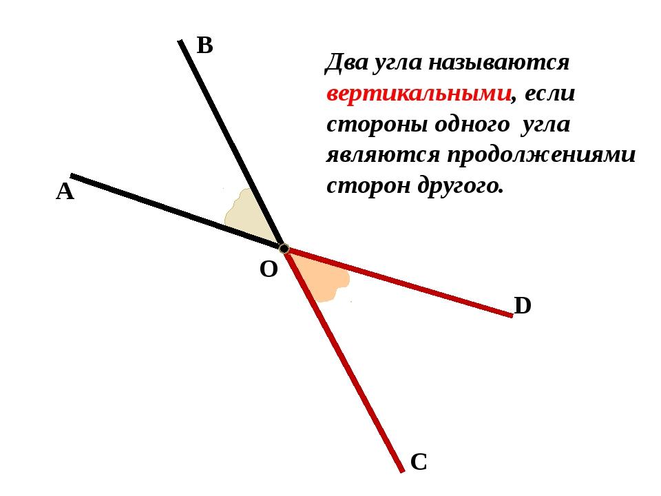 А В О С D Два угла называются вертикальными, если стороны одного угла являютс...