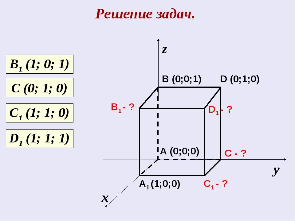 Решение задач. х у z C1 - ? C - ? A1 (1;0;0) B1 - ? D1 - ? A (0;0;0) B (0;0;1...