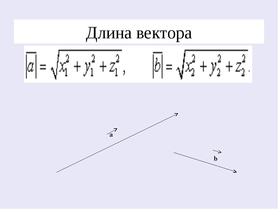 Длина вектора а b