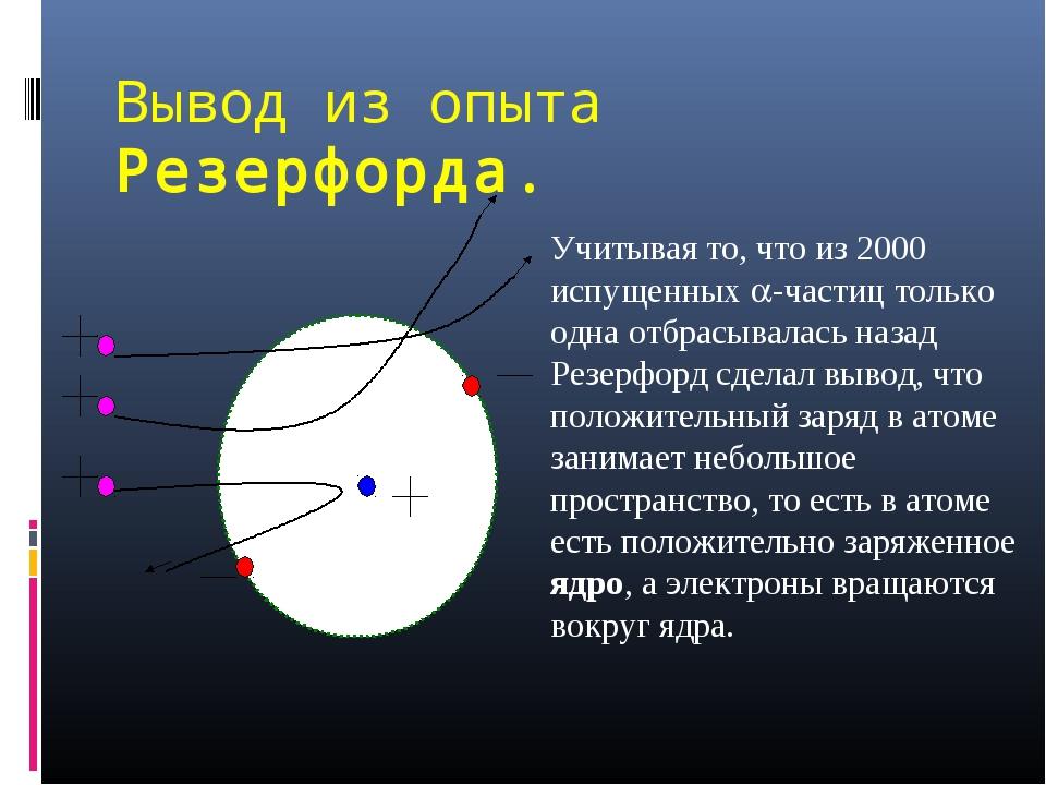 Вывод из опыта Резерфорда. Учитывая то, что из 2000 испущенных -частиц тольк...