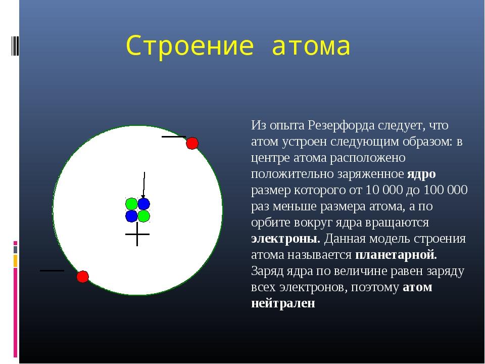 Строение атома Из опыта Резерфорда следует, что атом устроен следующим образо...