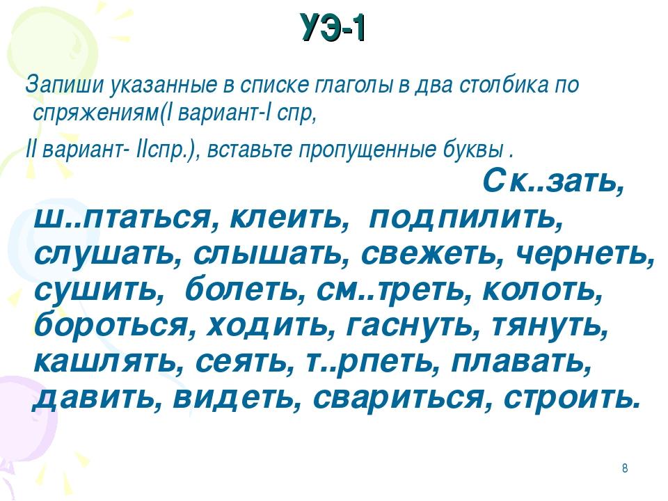 * УЭ-1 Запиши указанные в списке глаголы в два столбика по спряжениям(I вариа...