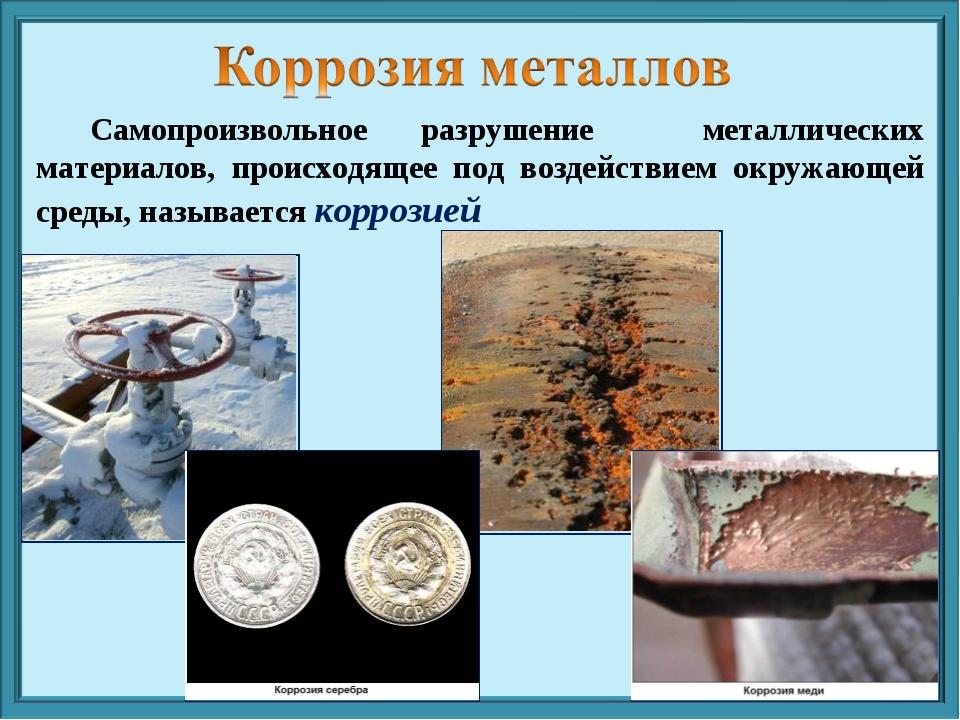 Самопроизвольное разрушение металлических материалов, происходящее под возде...