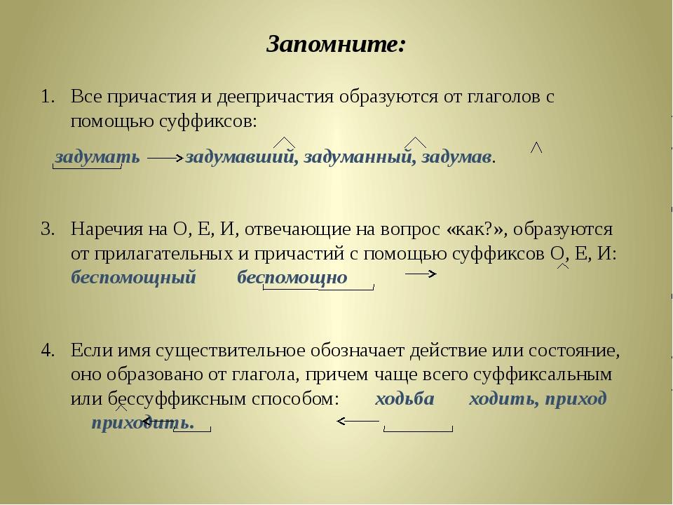 Причастия И Деепричастия Шпаргалка