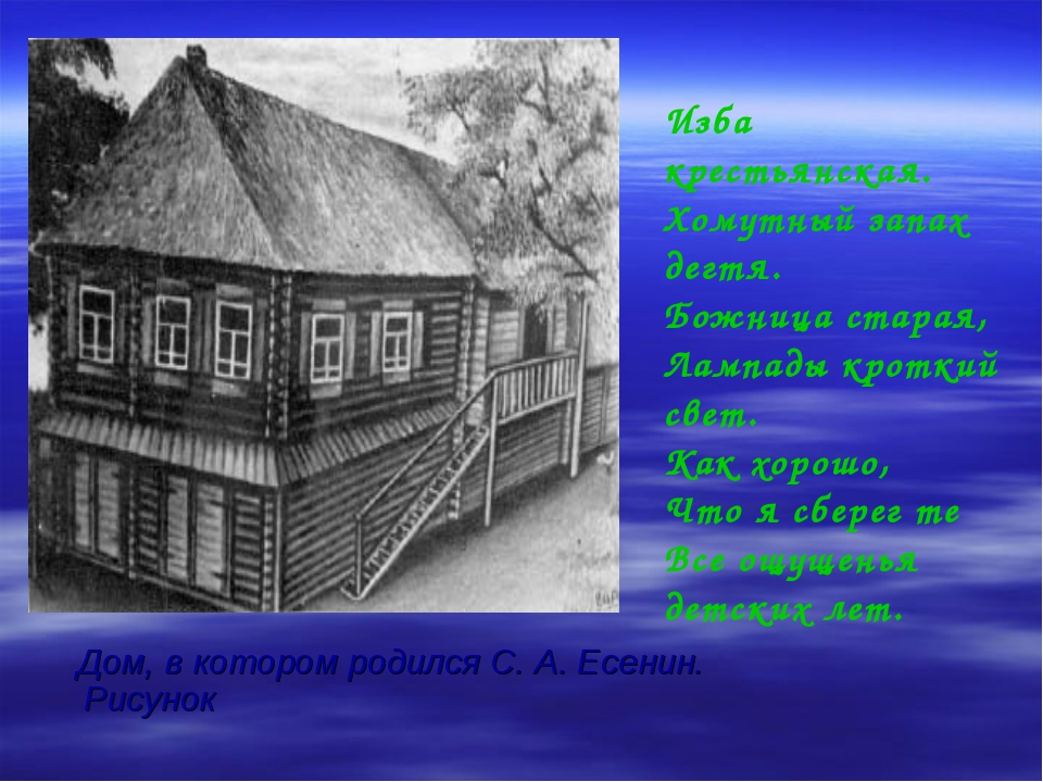 Дом, в котором родился С. А. Есенин. Рисунок Изба крестьянская. Хомутный зап...